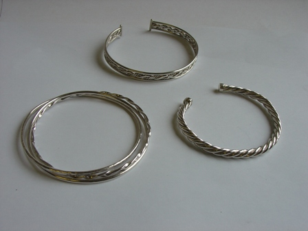 Twisted Silver Bangles