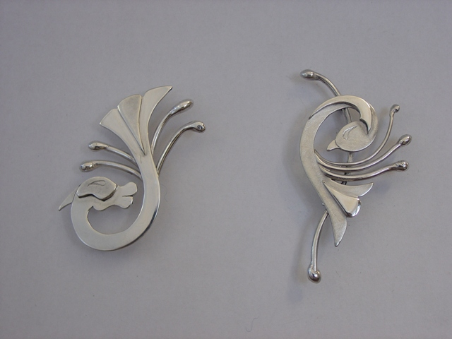 Silver animal and bird brooches