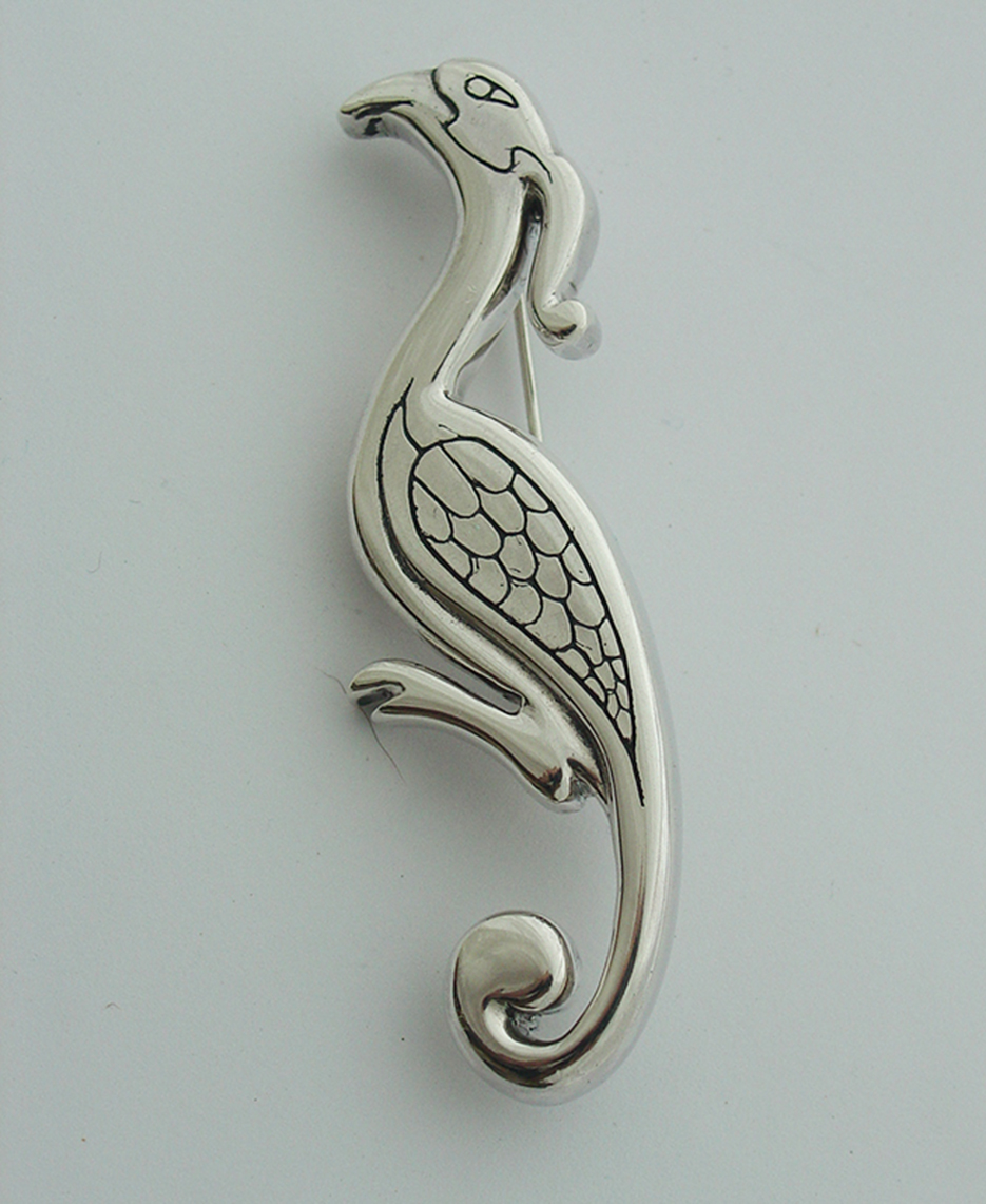 Cast Silver  Bird Brooch