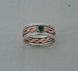 Silver and copper twist with emerald