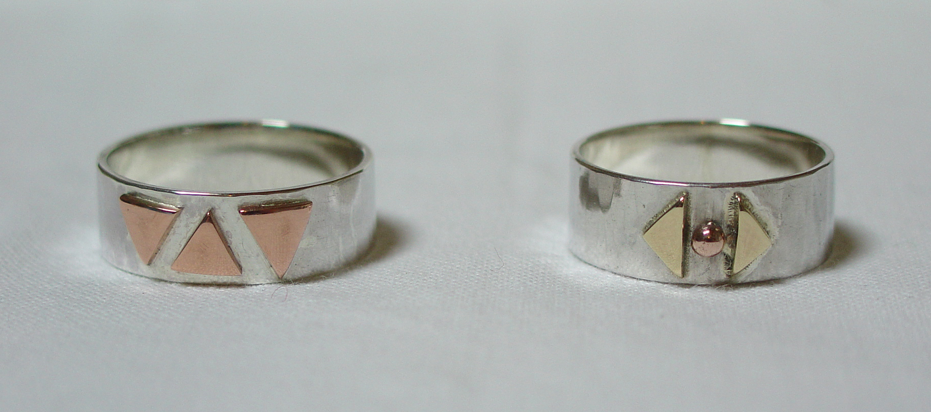 Silver, gold and copper rings