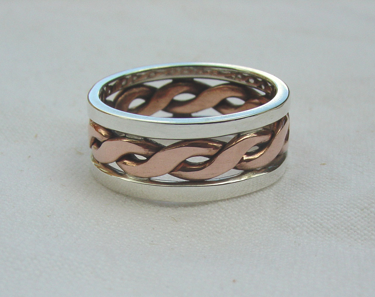 Silver and copper twist ring