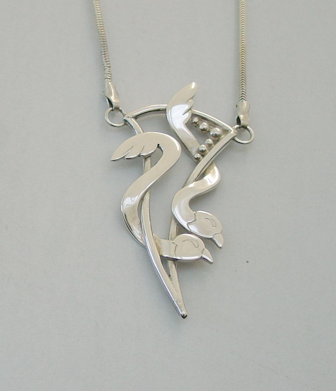 Silver birds pendant