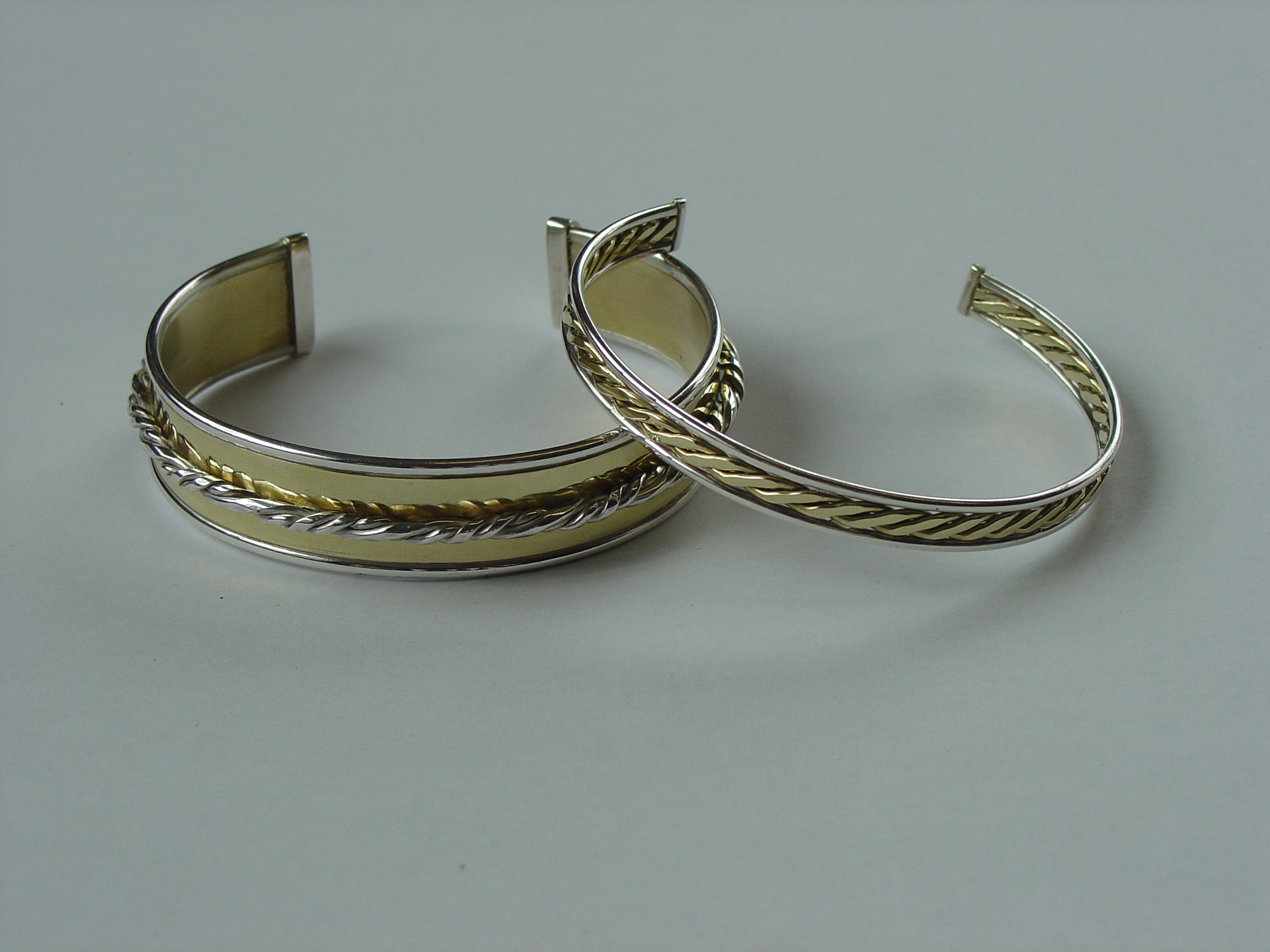 Silver and brass bangles