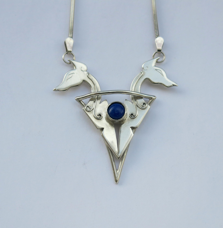 Dog heads pendant with Lapis Lazuli