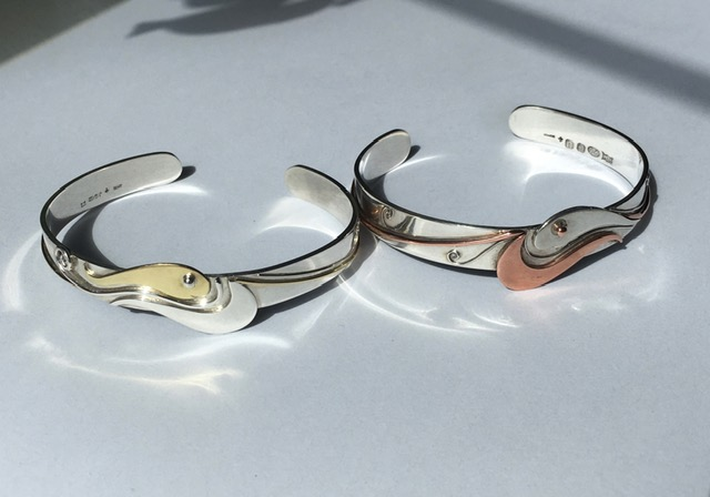 Silver and brass fish bangle (Silver with copper fish SOLD)