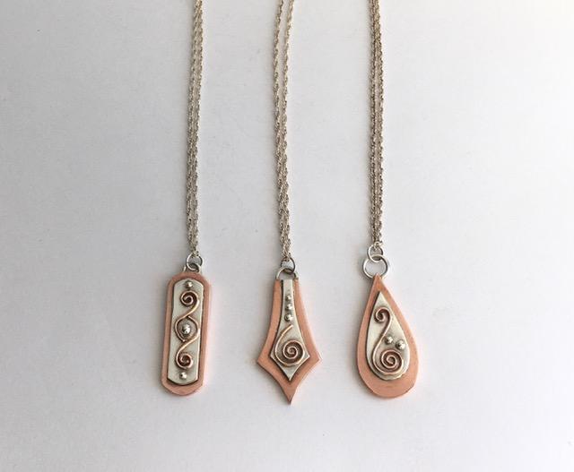 Silver and copper pendants