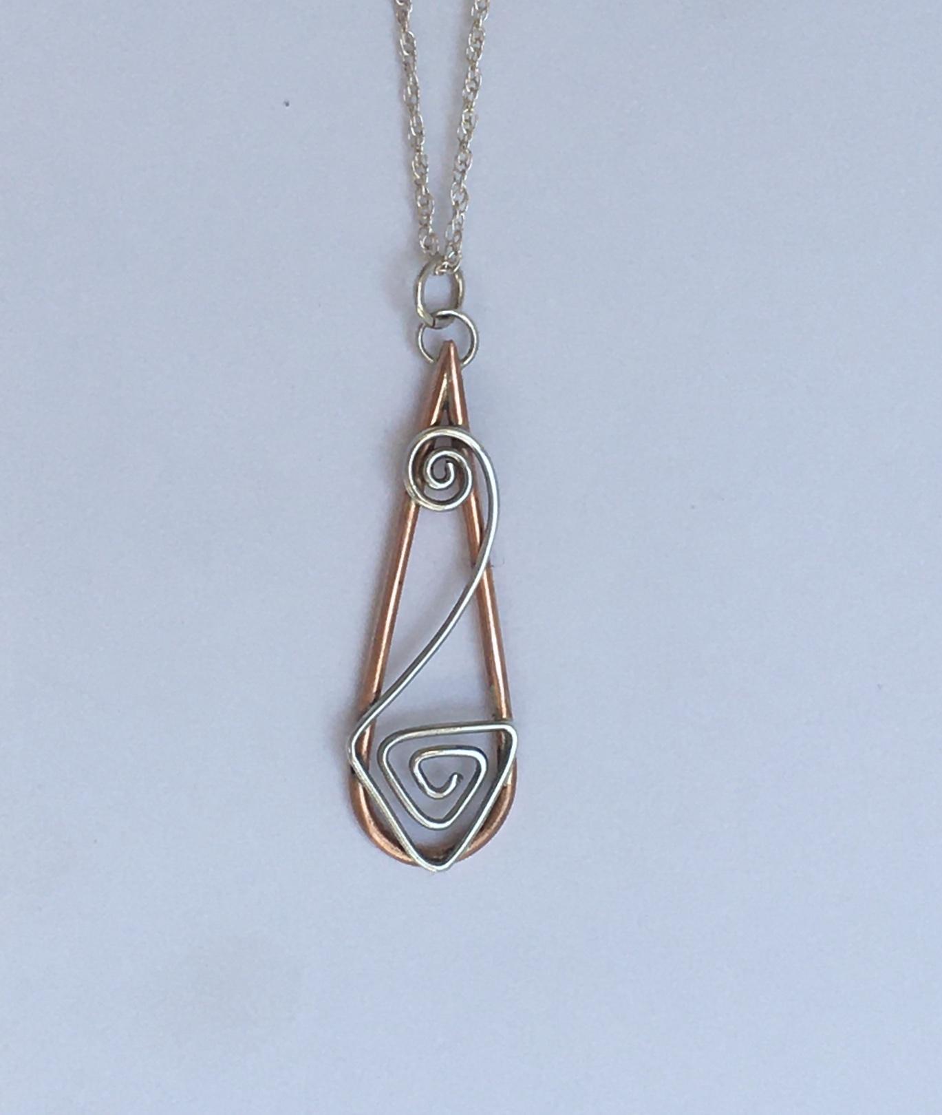 Silver and copper wire pendant
