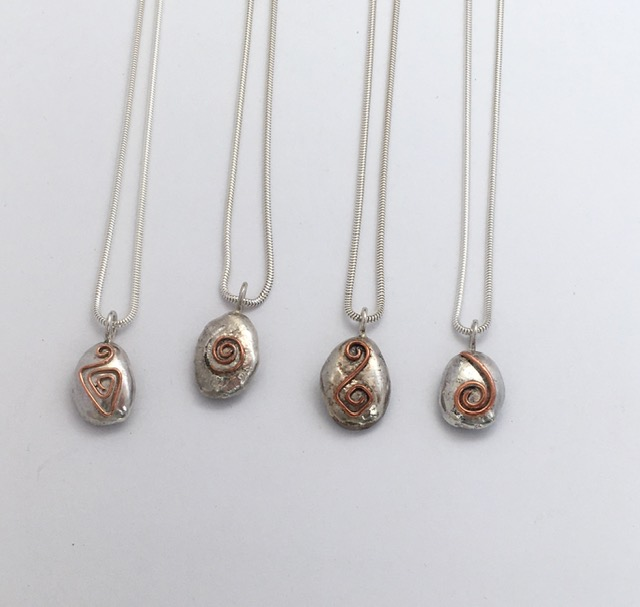 Silver nuggets with copper wire