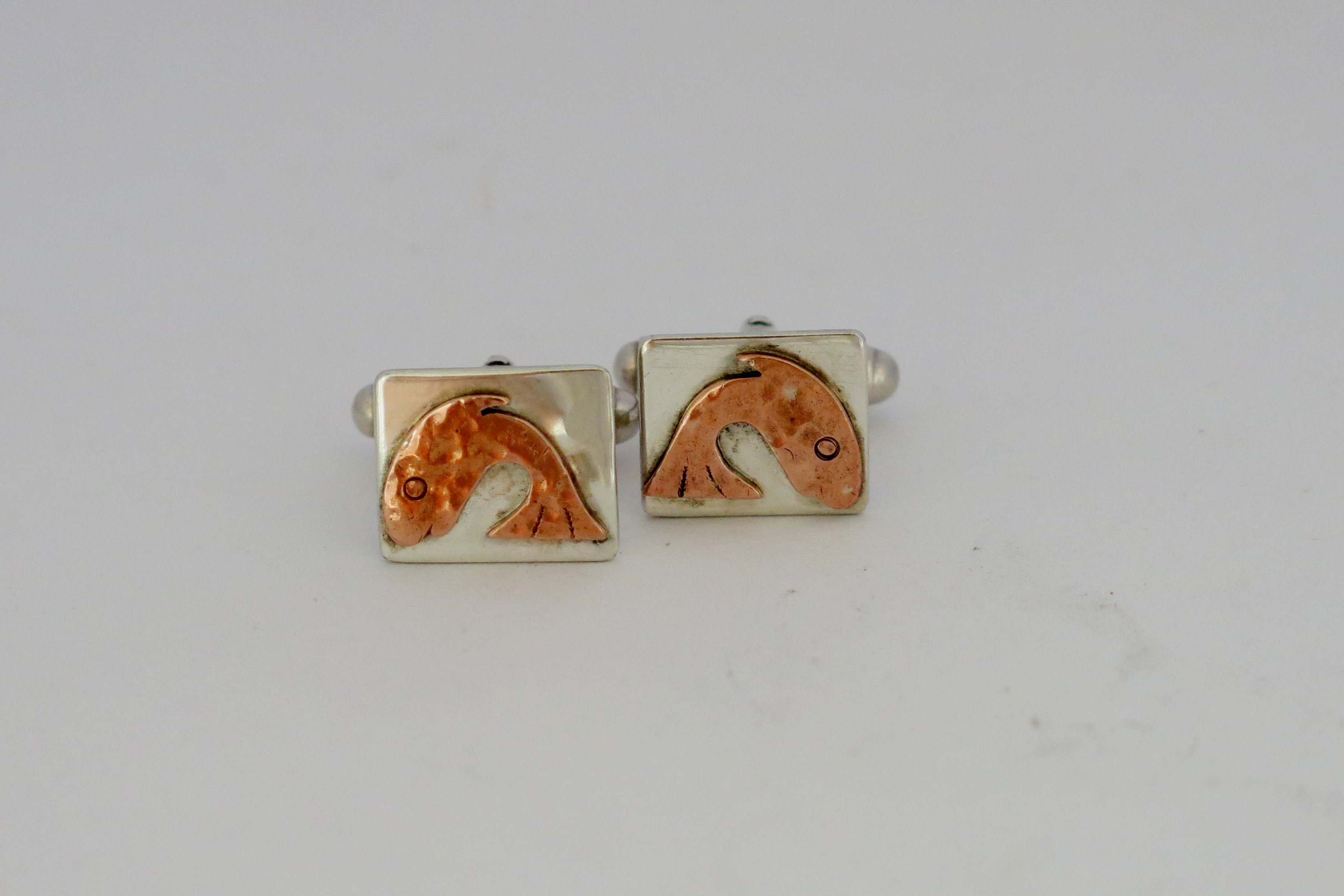 Copper leaping fish cufflinks