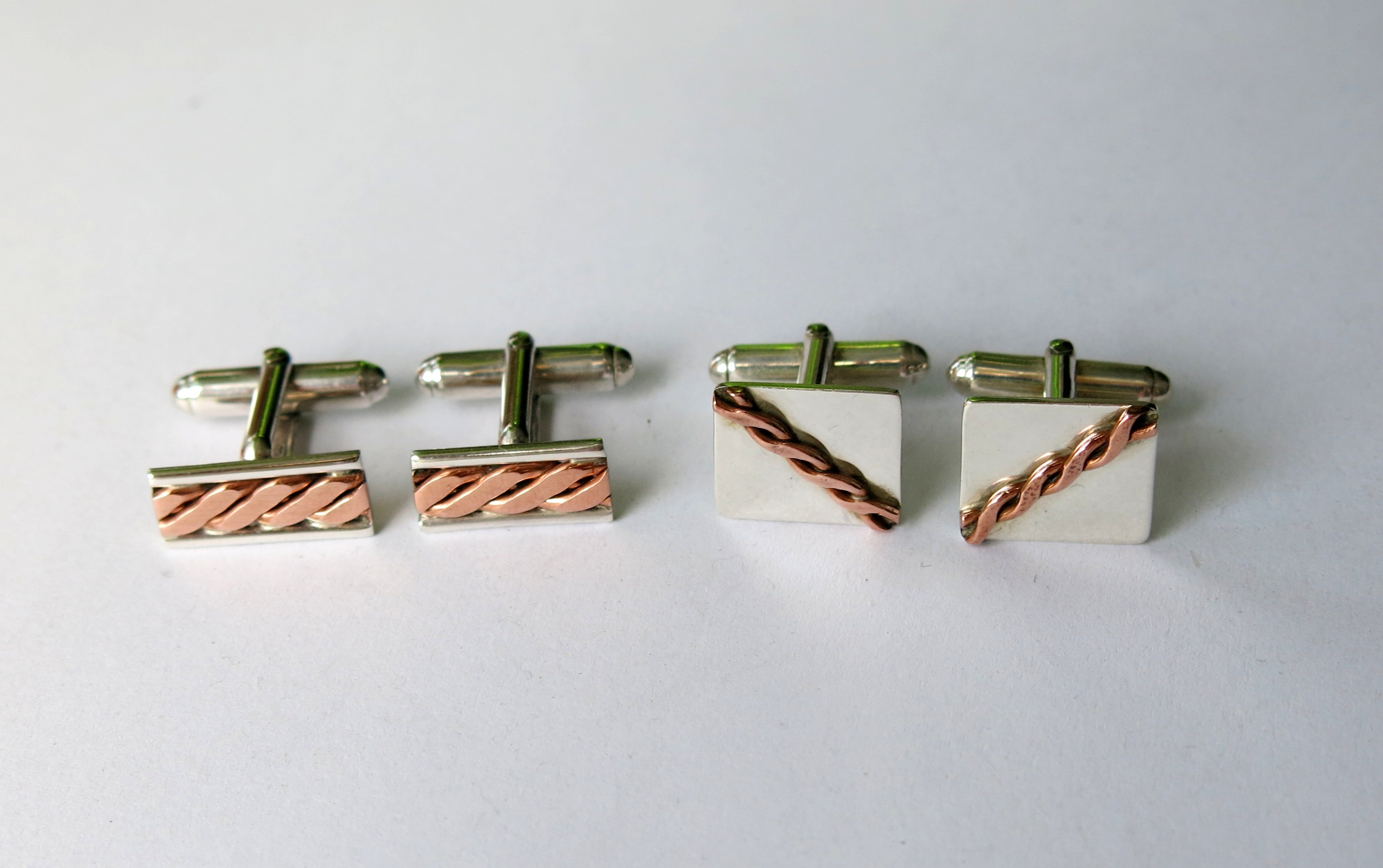 Silver and copper twist cufflinks