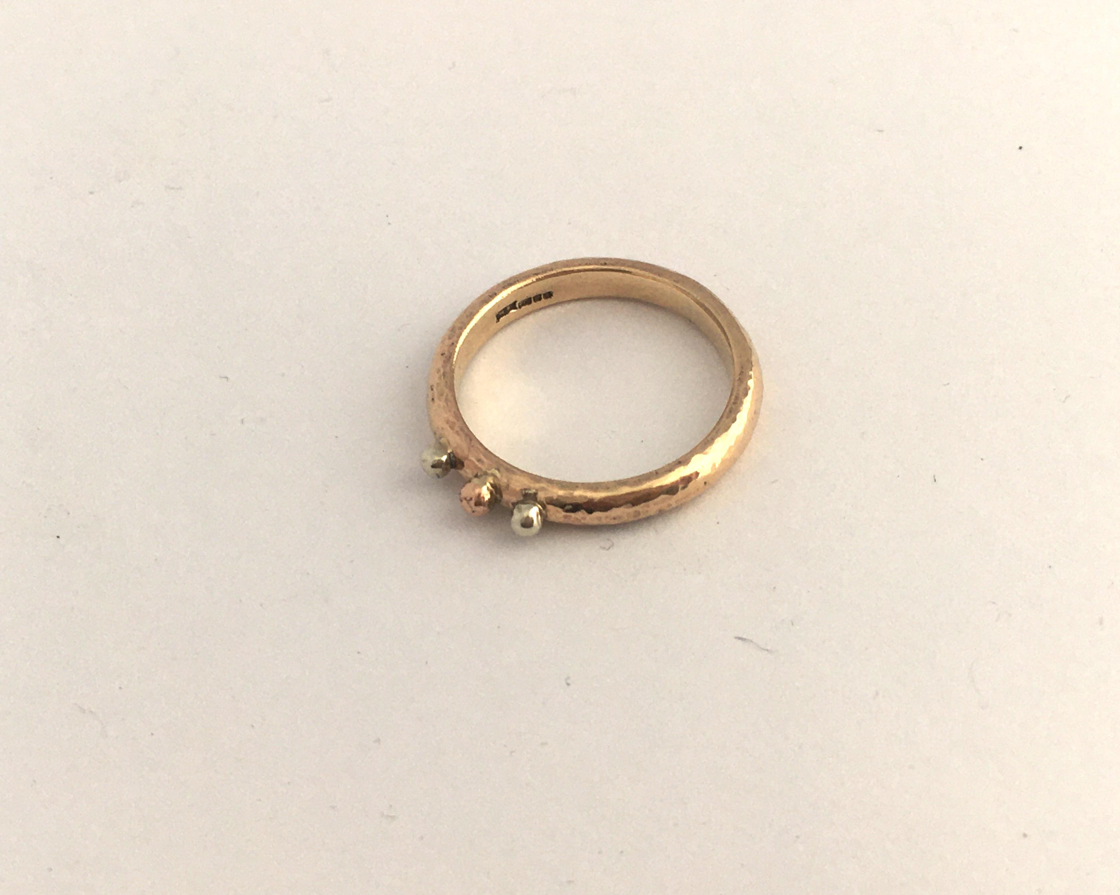 Three colour gold ring